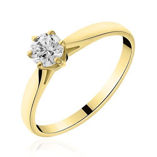 Solitaire diamant or jaune  Lauren