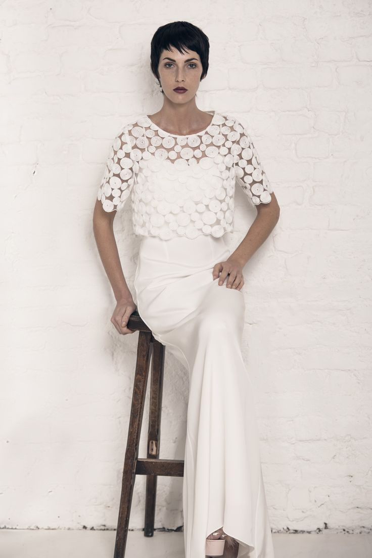 Modern wedding dress for the contemporary bride. Kristen top, Marion dress. Silk morocain gown with puddle train. Circle embroidery t-shirt with scalloped edges.
