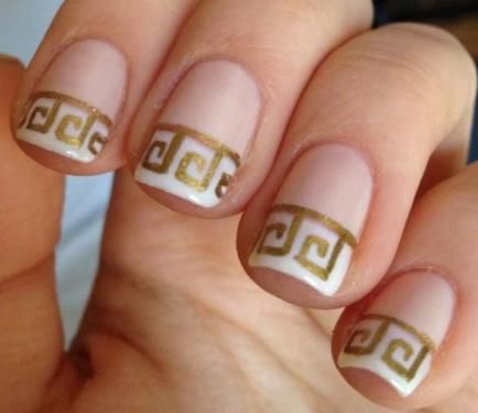 Revisit the classics with Greek-inspired French nails!, Fun French Manicures, White, Gold, Nail Designs, Essie, Nail Art How To, Nail It! Magazine