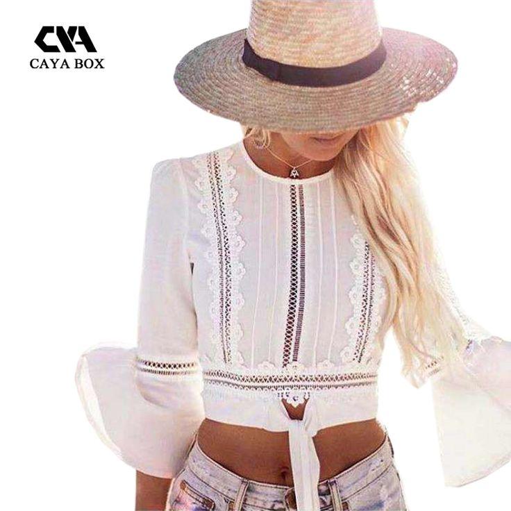 Caya коробка Blusen женщины 2017 Шифон Рубашка Блузки длинный рукав «фонарик» белые кружевные женские топы короткие женские Одежда