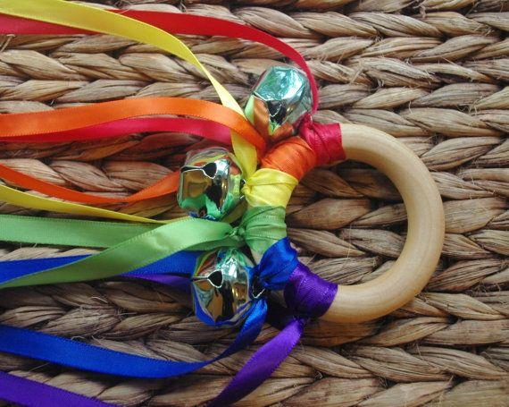 Waldorf Toy Musical Hand Kite ROYGBV Rainbow by IndieBambinos, $8.95