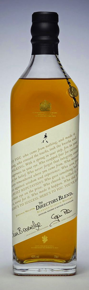 It's a confident brand that dials its branding down to these levels. But I guess that's the point for Johnnie Walker Directors Blend.