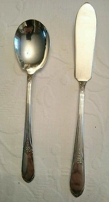 Wm. Rogers Silverplated Devonshire Sugar Spoon & Butter Knife