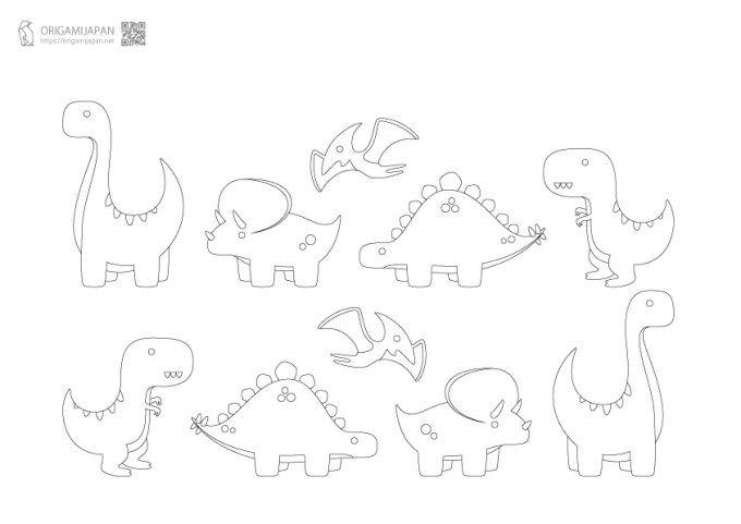 キュートな恐竜の塗り絵 幼児子供向け 無料ダウンロード 印刷 恐竜 塗り絵 きょうりゅう イラスト