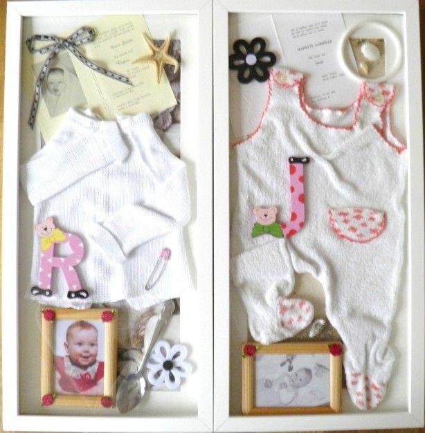 Zo maak je een collage van de eerste baby kleertjes e.d. inclusief geboortekaartje in een lijst van Ikea.