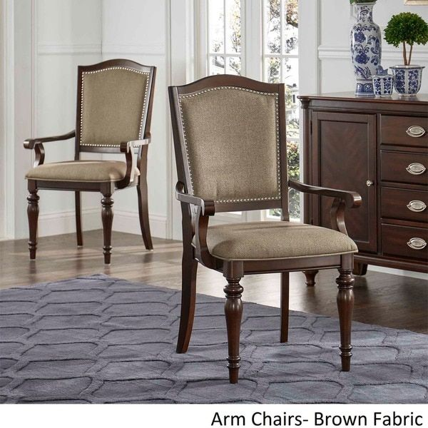 LaSalle Espresso Nail Head Accent Transitional Dining Chairs by TRIBECCA HOME (Set of 2)