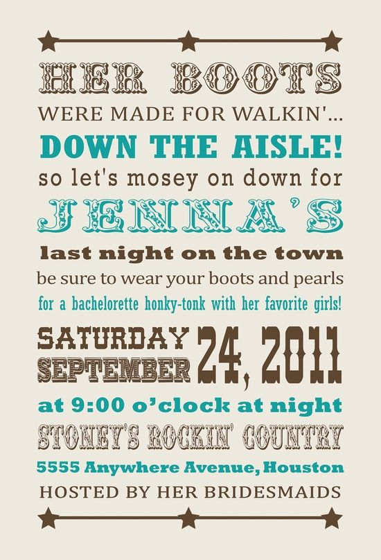 western bachelorette party ideas | Wedding Ideas / . Cowgirl Western Bachelorette Party Invitation. $15 ...