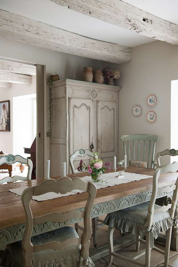 Whitewash softens the look of ceiling beams, for a less rustic feel.