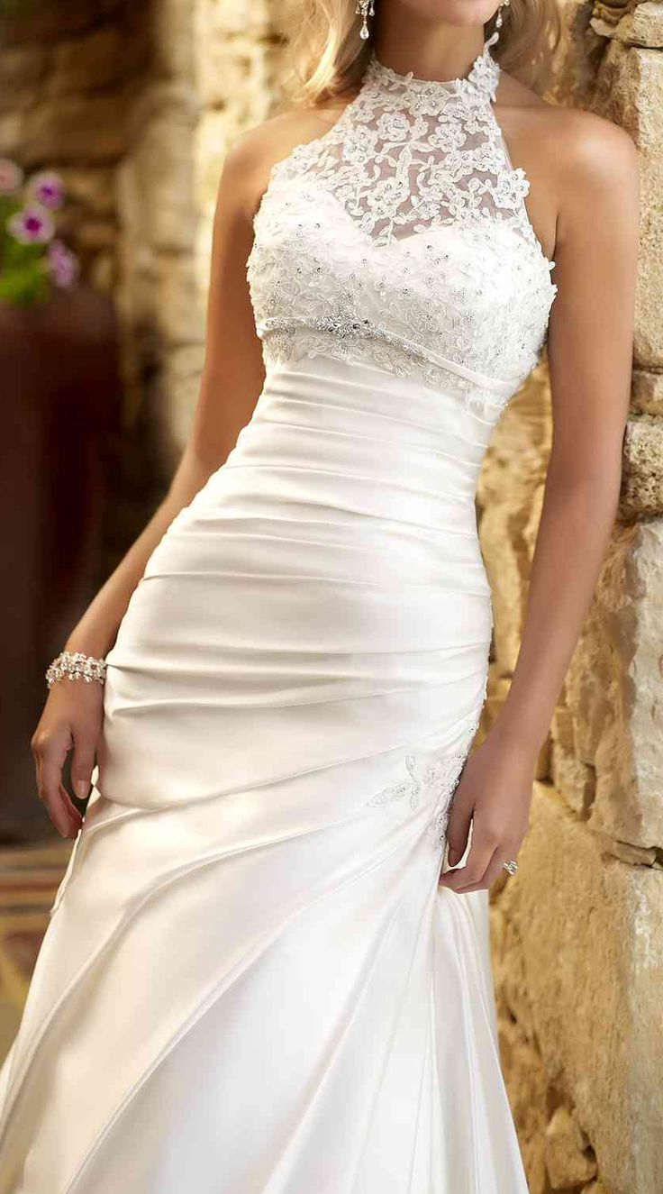 Lace halter gown wedding pinterest beautiful for Pinterest wedding dress lace