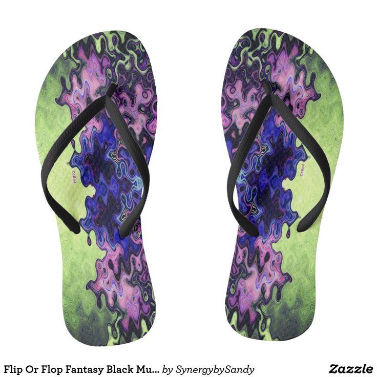 Flip Or Flop Fantasy Black Multi Color Flip Flops
