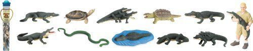 "Safari LTD Alligators Alive Toob by Safari. $7.23. All our products are phthalate-free and thoroughly safety tested to safeguard your child's health. Featured is our alligators alive toob. Replica size: 1.5"" to 3"" h (4 to 7.5 cm). Each figure is professionally sculpted and finely hand painted. Excellent ""carry-along"" for any excursion since the figures are neatly packed in a reusable acetate tube. Toob includes: alligator with babies on back, alligator snapping turtle, s..."