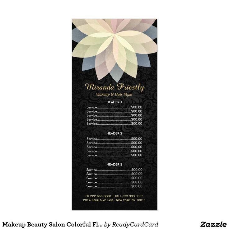 Makeup Beauty Salon Colorful Floral Price List Rack Card