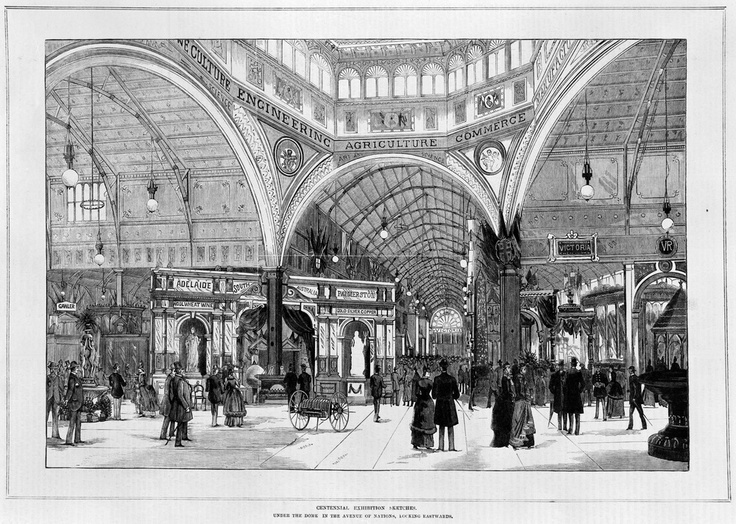 Centennial Exhibition sketches: under the dome in the avenue of nations, looking eastwards, Melbourne