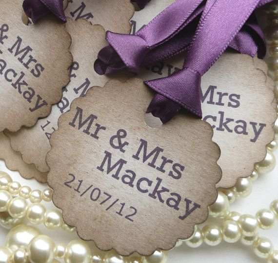 50 Purple Wedding Favor Tags Personalised  Scallop by amaretto,