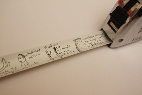 Spray paint a measuring tape and use it to keep track of for Spray paint designs with tape