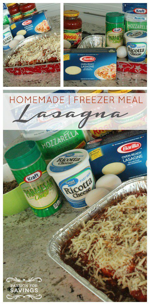 Homemade Freezer Lasagna Recipe! Easy Dinner Idea for the Family! Find More Freezer Meals Here --> http://www.passionforsavings.com/freezer-meals/