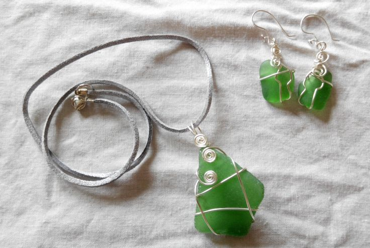 handcrafted wire wrapped genuine Irish sea glass earrings and pendant set. made in Ireland. by terramor on Etsy
