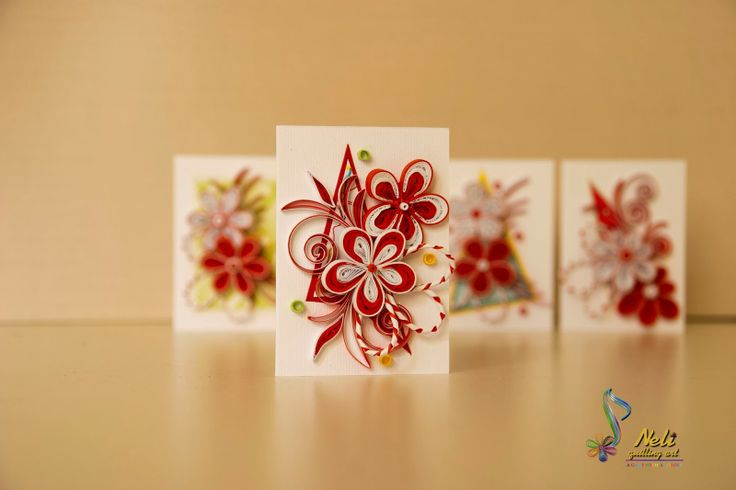 neli: Spring quilling small cards- / 7.4 cm-5.2 cm /
