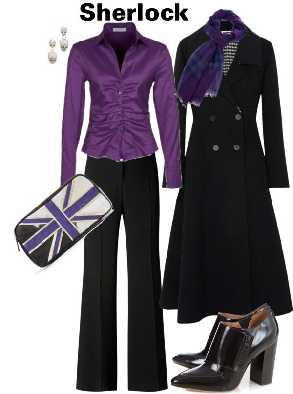 """""""Sherlock"""" by jeanine-lubbers-gravitt on Polyvore. LOVE the purple! (I want this whole outfit and not just because it looks like Sherlock. Because. It. Is. AWESOME.)"""