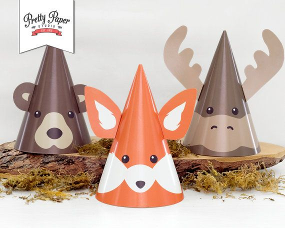 Woodland Animal Party Hats // INSTANT DOWNLOAD // Fox Moose Bear // Lumberjack Birthday Party Decor // Boy and Girl // Printable