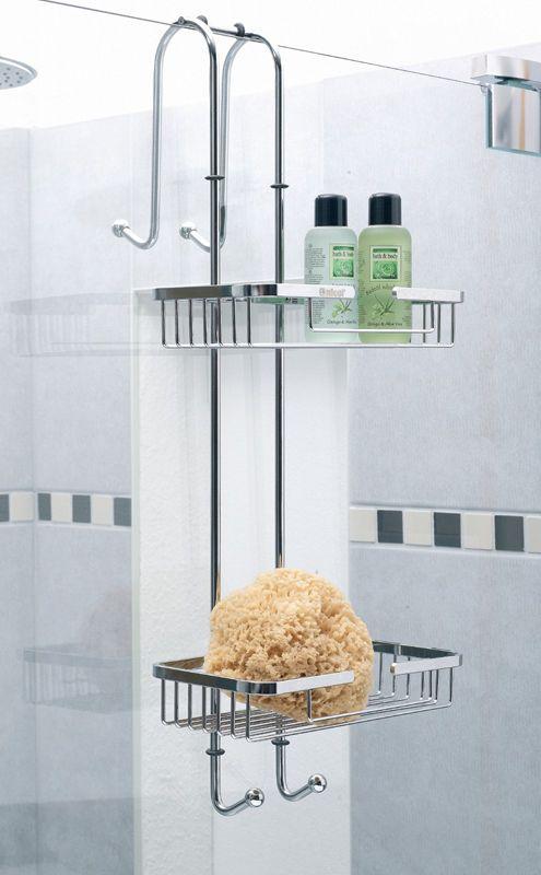 Hochwertiges Hängeregal für die Duschwand aus rostfreien Edelstahl mit 2 Ablagekörben und 4 Haken für Handtücher, Waschlappen und Schwämme. Das Regal wird mit 2 Halterungen an der Duschwand befestigt (geeignet für Duschwände mit einer Stärke bis zu 6,5 cm).