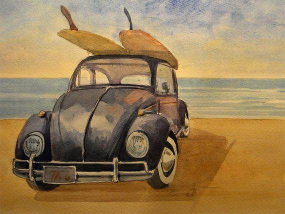 volkswagen beetle surf beach california  classic car sport vintage race   cm art