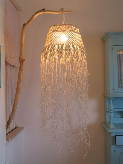 Chandelier hand made with macramé knot lace of bleached cotton string