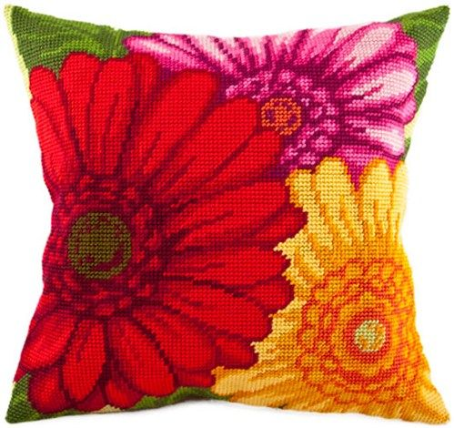 Red Flowers pillowcase cross stitch DIY embroidery kit