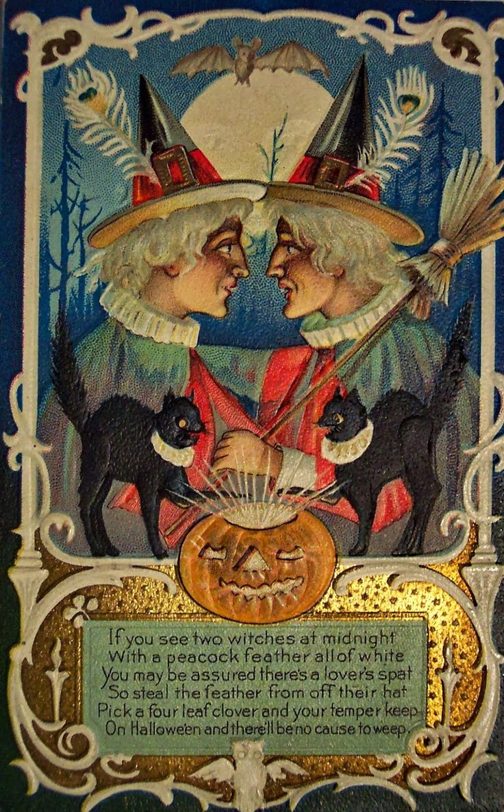 Vintage Halloween Postcard Featuring Witches Of All Kinds.
