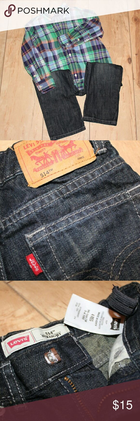 Levis 514 Boys Toddler 4T R Adjustable (Dark Wash) Regular fit jeans are a 4T and are for boys. They are adjustable in the waist area. They are used but full of life. Levi's Bottoms Jeans