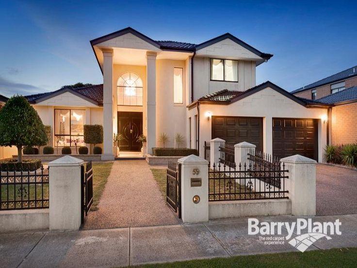 Brick modern house exterior with portico & decorative lighting - House Facade photo 200216