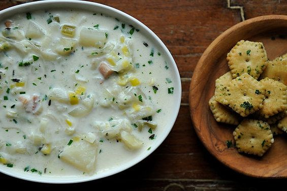 THREE ONION CHOWDER WITH PARSLEYED OYSTER CRACKERS: Soups, Three Onion, Onions, Oysters, Recipe, Onion Chowder, Chowders, Parsleyed Oyster