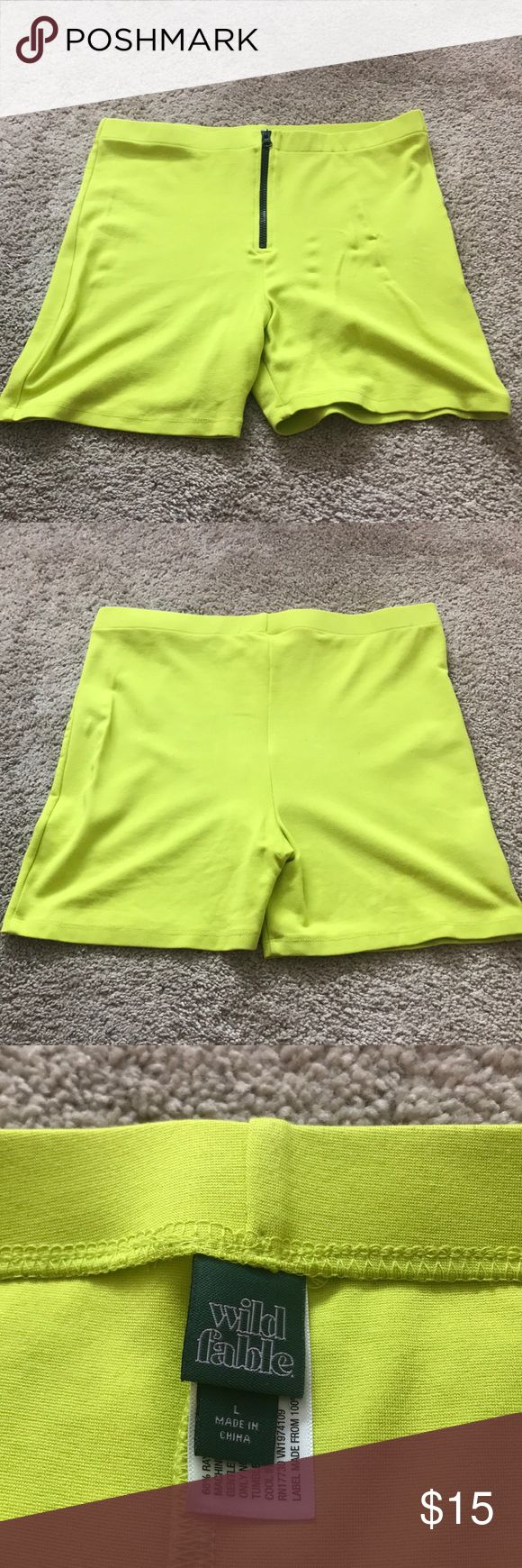 Neon biker shorts Worn once neon spandex, zipper is on front side of body— fro…  – My Posh Closet