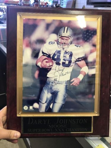 382c3f0018a #48 Daryl Moose Johnston Dallas Cowboys Signed Picture Frame Plaque Super  Bowl (eBay Link)