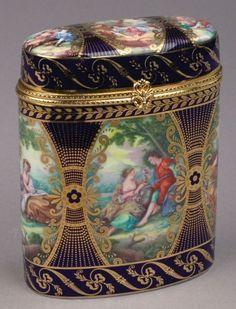 Cobalt Blue Victorian Couples Jewelry Trinket Box
