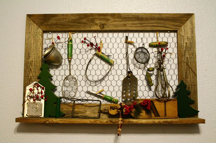 Old wood frame with chicken wire Vintage Kitchen Utensil display