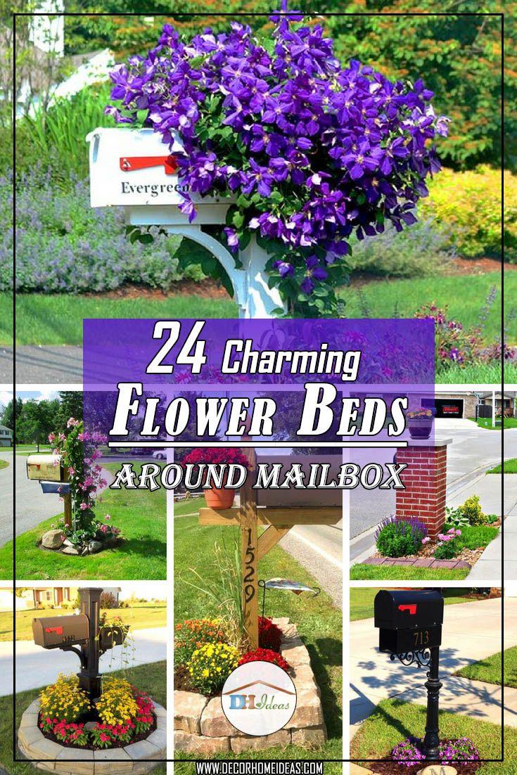 24 Charming Flower Beds Around Mailboxes Flower Beds Gardening