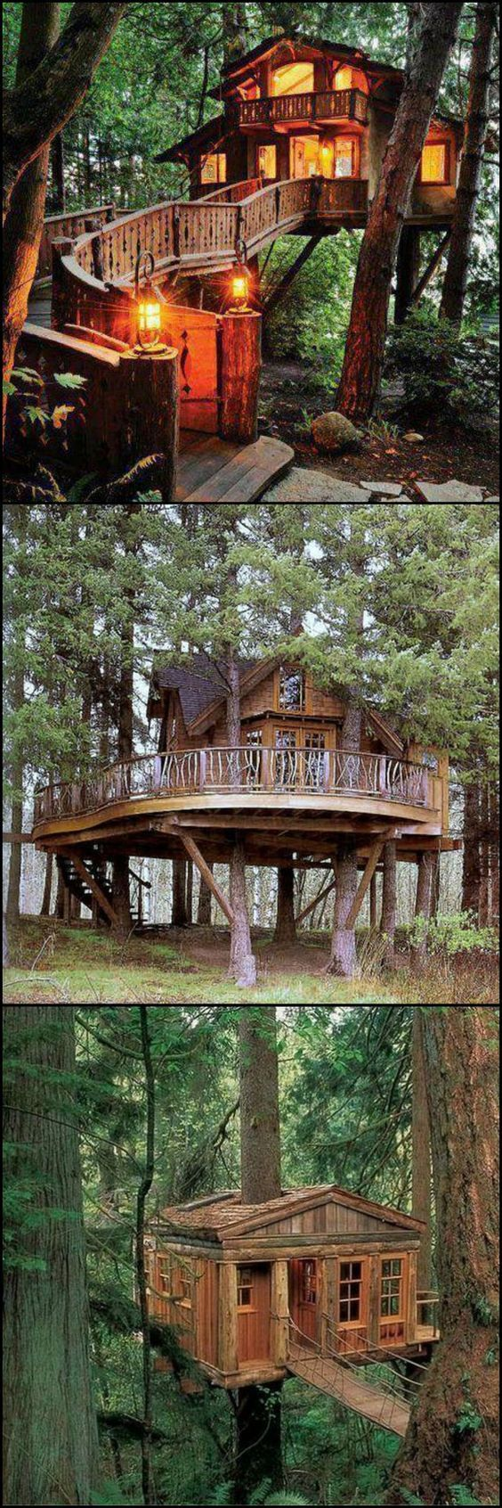 """If the idea of a tree house doesn't stir your imagination, you might want to check that your heart is still beating :)  The great news is that there are lots of inspired adults around the world determined to fulfil their childhood desires!  For more examples head over to our """"Treehouses for the Child Within"""" album on our site at http://theownerbuildernetwork.co/vo53  Whoever said treehouses are just for the kids?"""