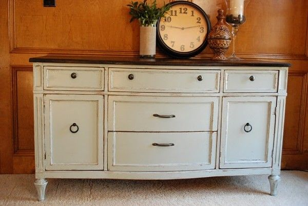 Oh pretty please....won't someone post their old buffet on Craigslist so I can snatch it up and refinish it like this?  My large, empty, living room wall will thank you.  (My husband will not....but that is beside the point.)