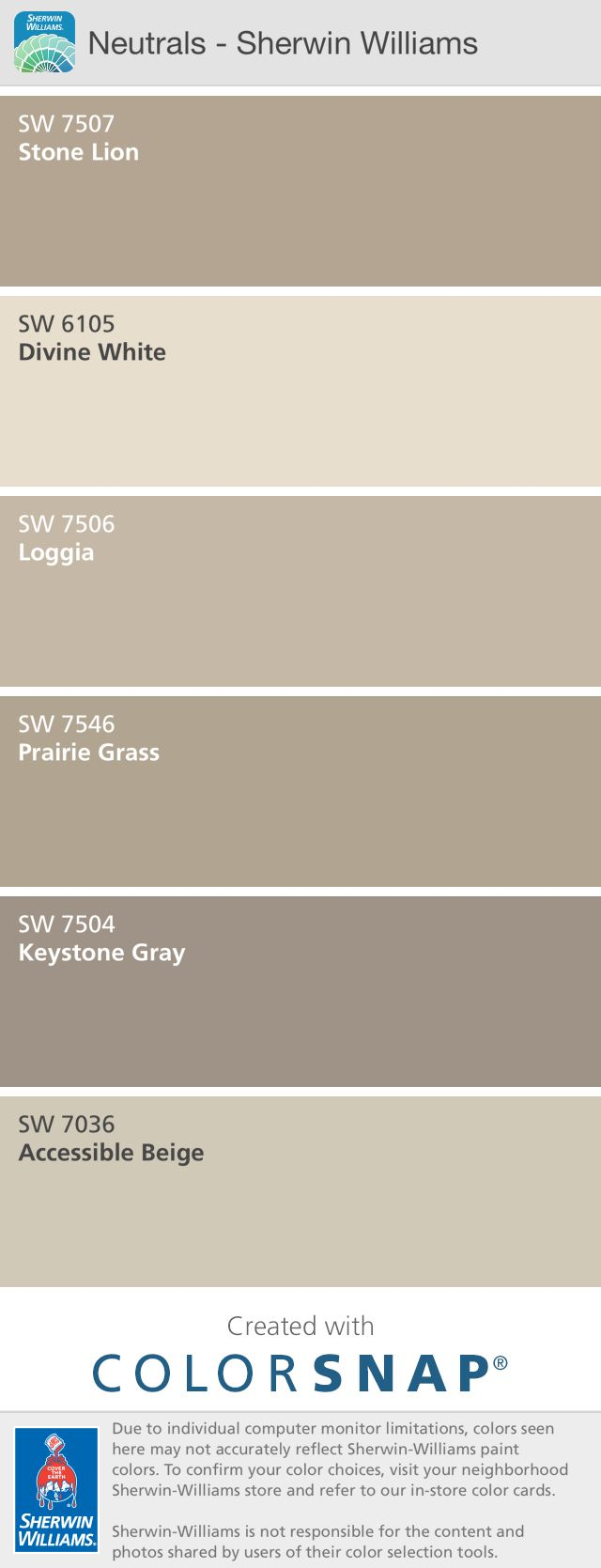 My interior color pallet.  Sherwin Williams neutrals.