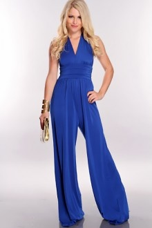 Royal Blue Halter Tie Jumpsuit Outfit