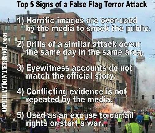Top 5 signs of a false flag attack. Look up Operation Northwoods.