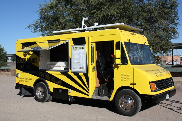 Solar Roast Coffee Roasters truck, Colorado. The world's only commercial solar-powered coffee roasters (note the roof top solar panels). They use organic fair trade coffee and every bag of coffee raises awareness of their solar technologies and programs. Kudos!