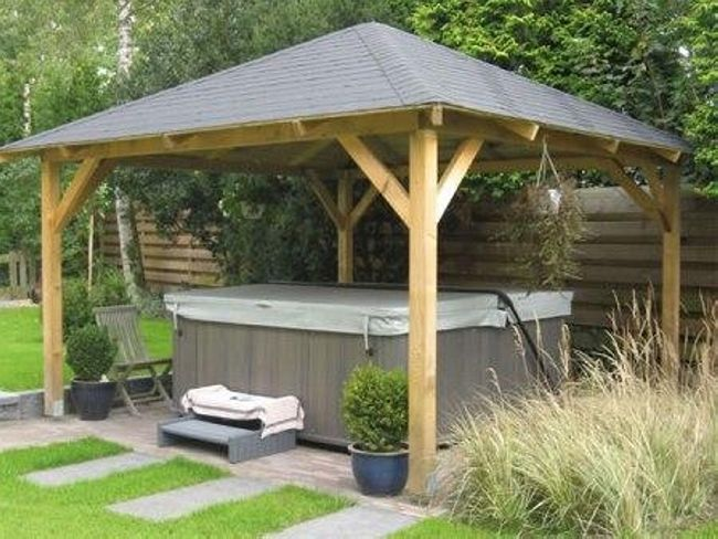 25 best ideas about hot tub gazebo on pinterest hot tub garden hot tub pergola and jacuzzi - Hout pergola dekking ...