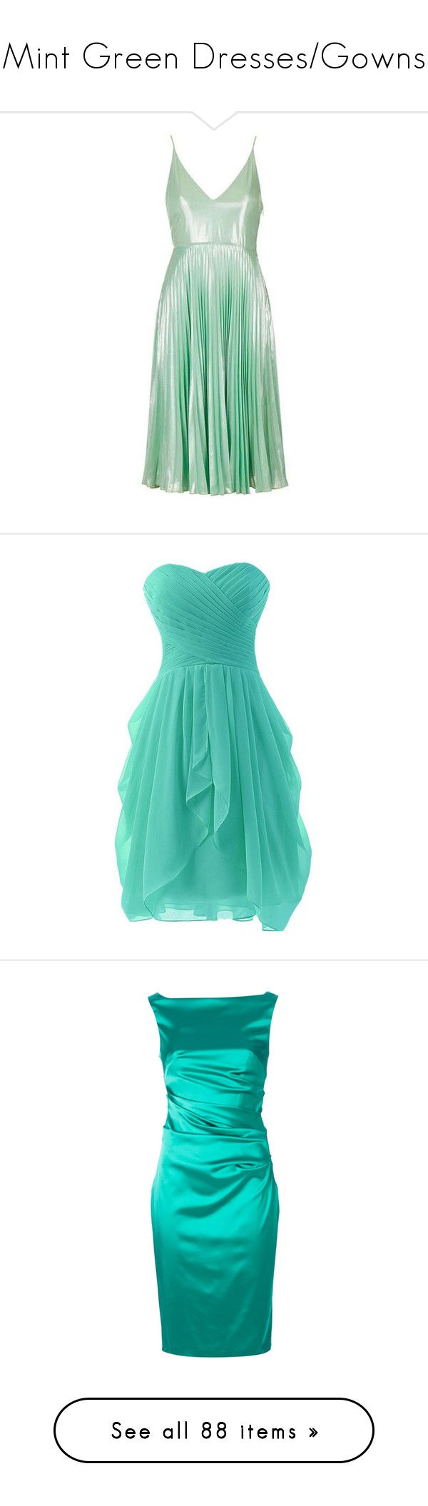 """Mint Green Dresses/Gowns"" by mintvelvetveins ❤ liked on Polyvore featuring dresses, topshop, vestidos, prom dresses, metallic cocktail dress, plunging neckline cocktail dress, midi prom dress, midi cocktail dress, short ruched dress and short dresses"