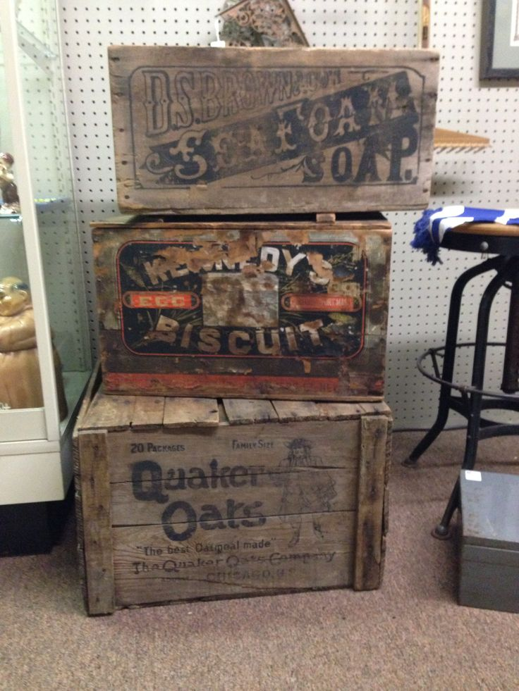 ANTIQUE GROCERY STORE CRATES !! ..... Found these while Antique / FleaMarket hunting .... Download the FLEATIQUE APP on the Apple App Store for IPhone 5 - 5S - 5C - 6 - Ipad ...... Antiques roadshow vintage retro brimfield flea market old primitive primitives American pickers junkin junk gypsies Boston Chicago Pittsburgh Columbus Detroit Cleveland Philadelphia Hartford Portland Dallas Houston decor style hgtv Nashville Tulsa Denver Oklahoma City Louisville Indianapolis Lexington Charlotte