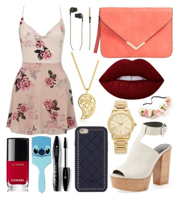 """""""Untitled #187"""" by loveemyself on Polyvore featuring Sonal Bhaskaran, Tory Burch, Lipsy, Rebecca Minkoff, Michael Kors, Lime Crime, Lancôme, Disney, Chanel and Kreafunk"""