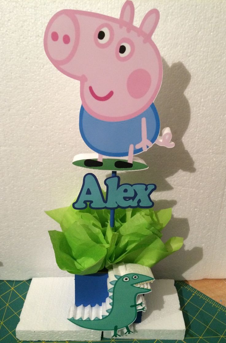 6 Peppa pig boy themed centerpiece by TinksMagicalDeco on Etsy https://www.etsy.com/listing/249318676/6-peppa-pig-boy-themed-centerpiece