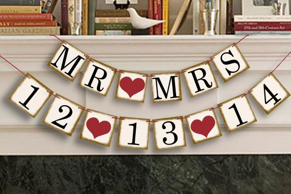 Bridal Shower Decorations - Bridal Shower Banners - MR MRS Save The Date Banner - Wedding Garland - Sign - Photo Prop on Etsy, $22.00