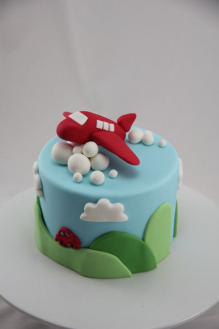 plane cake boys birthday party red blue kids